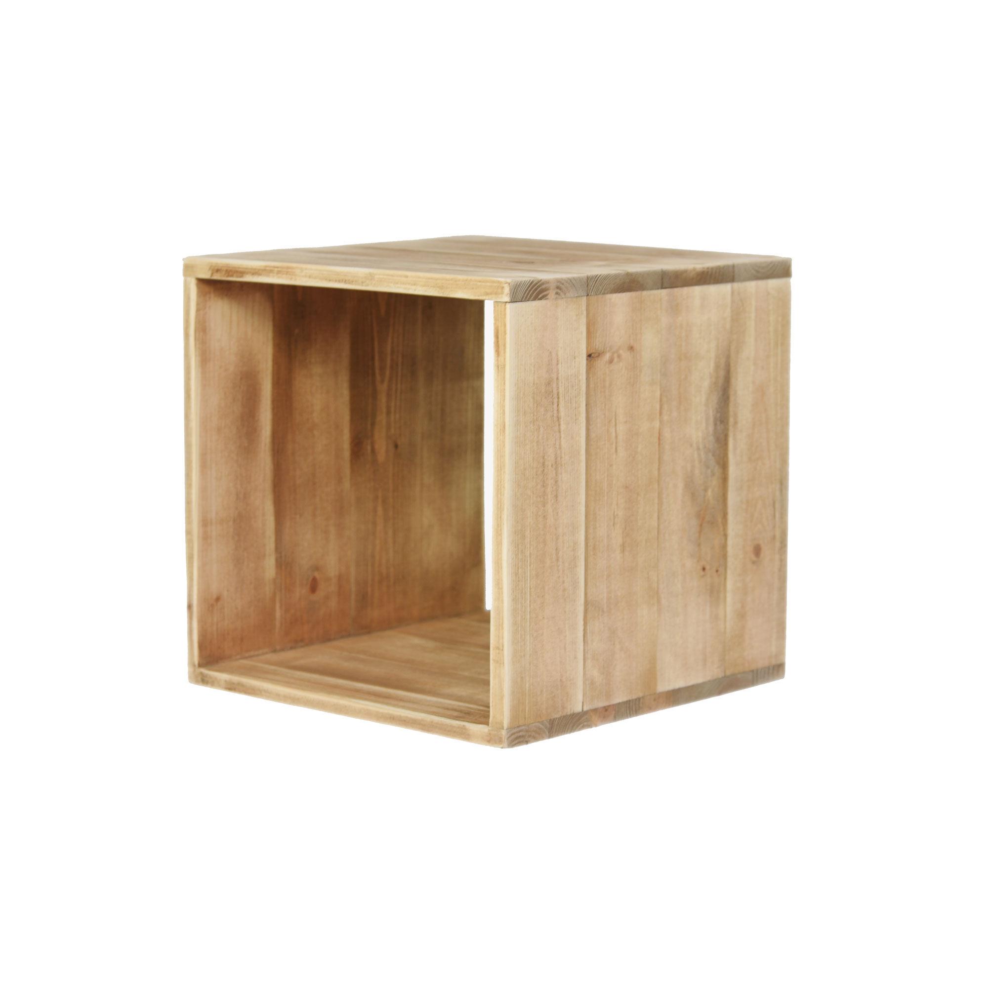 Dendro Cube en pin massif bois vieilli