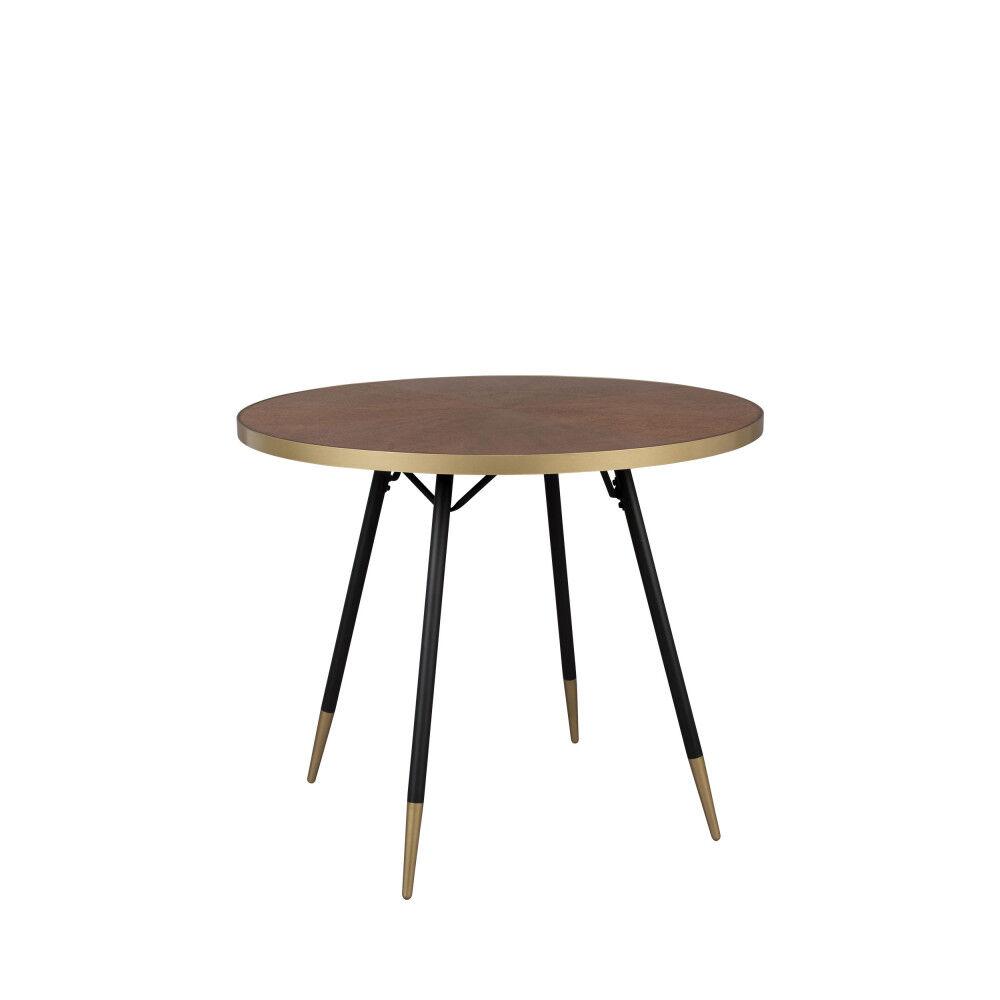 Drawer Table  manger ronde D91cm métal / bois foncé