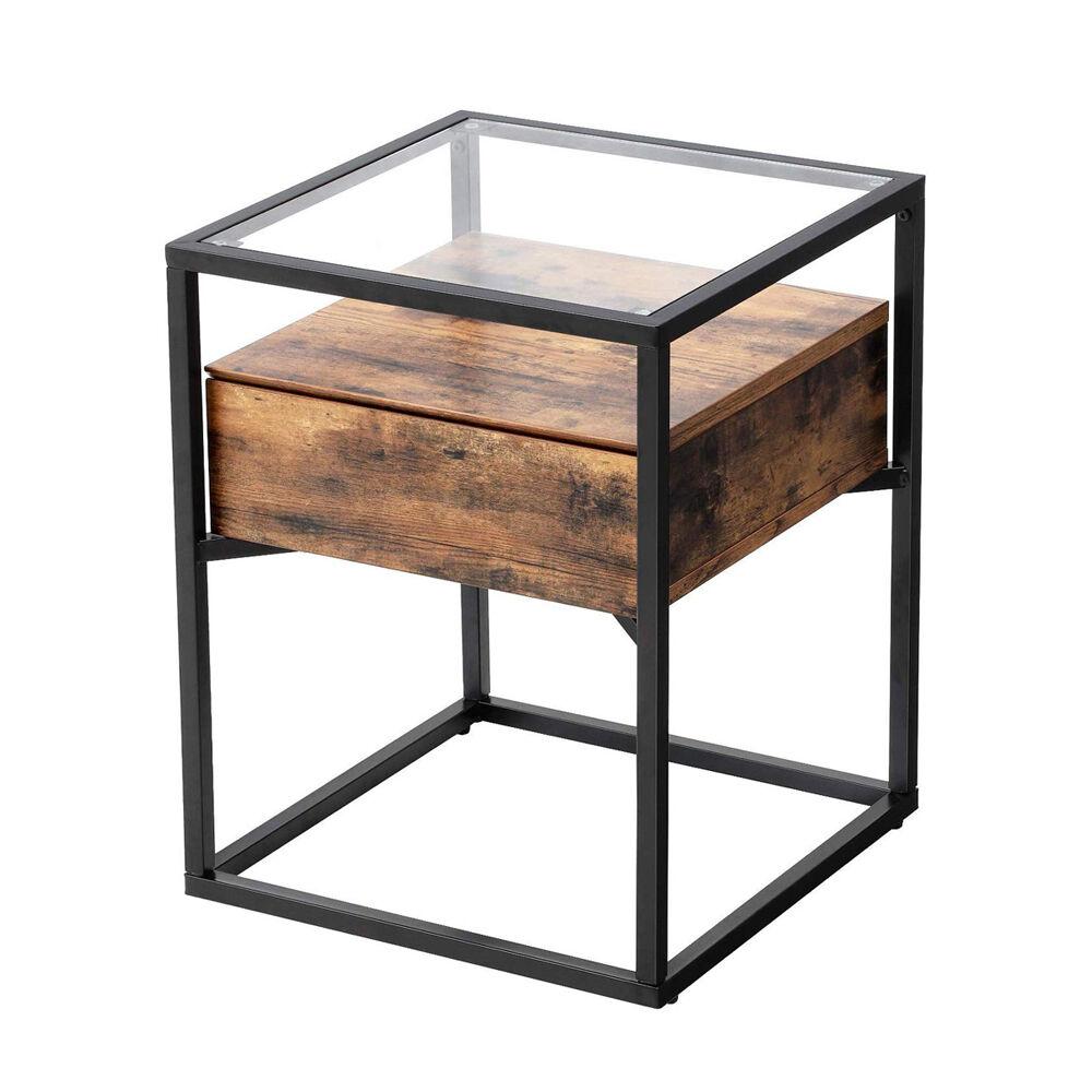 Selsey Table basse 43x43 cm tiroir effet bois foncé noir