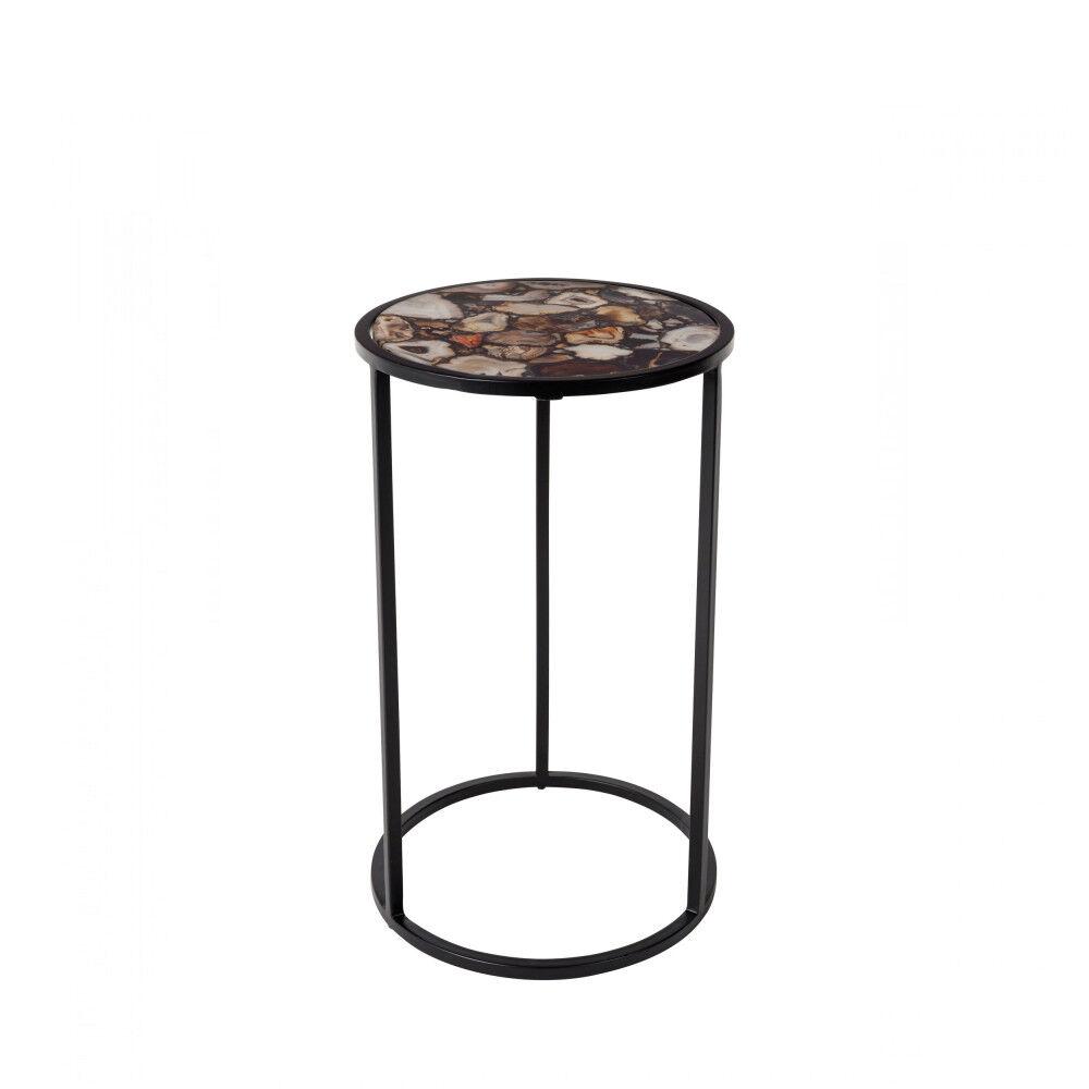 Dutchbone Table d'appoint en pierre noir