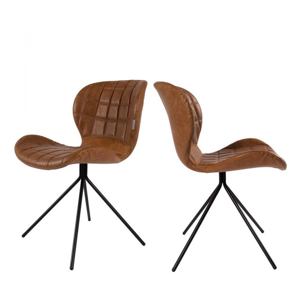 Zuiver 2 chaises design skin marron