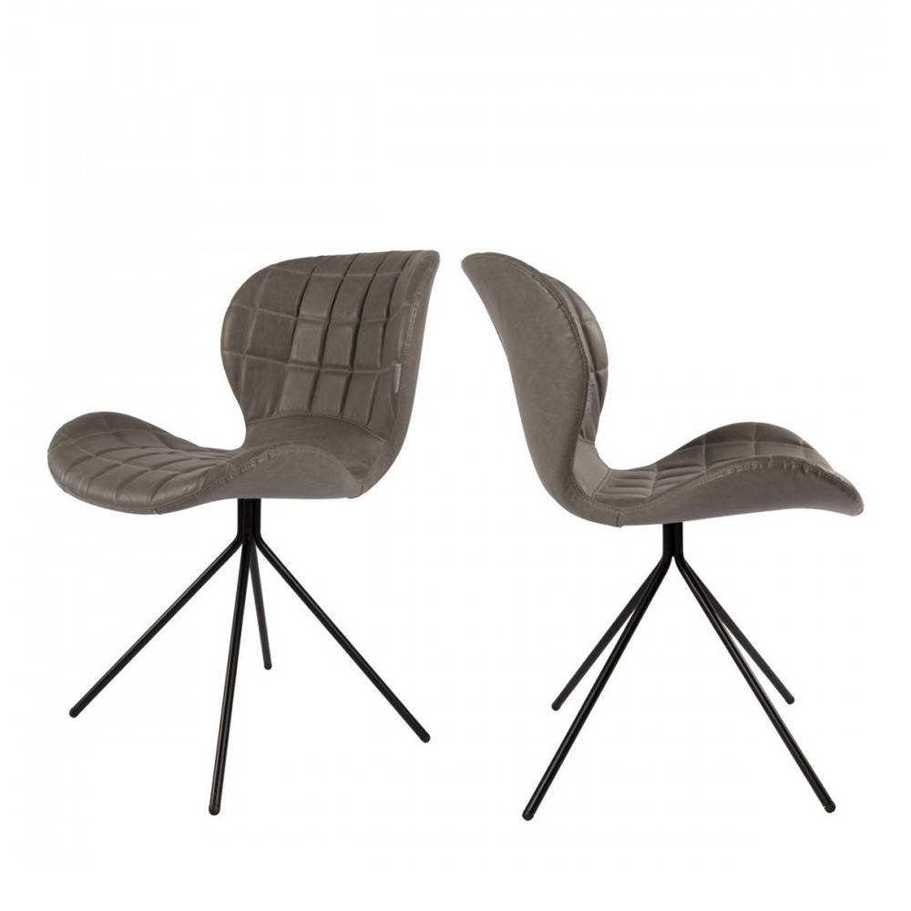 Zuiver 2 chaises design skin gris