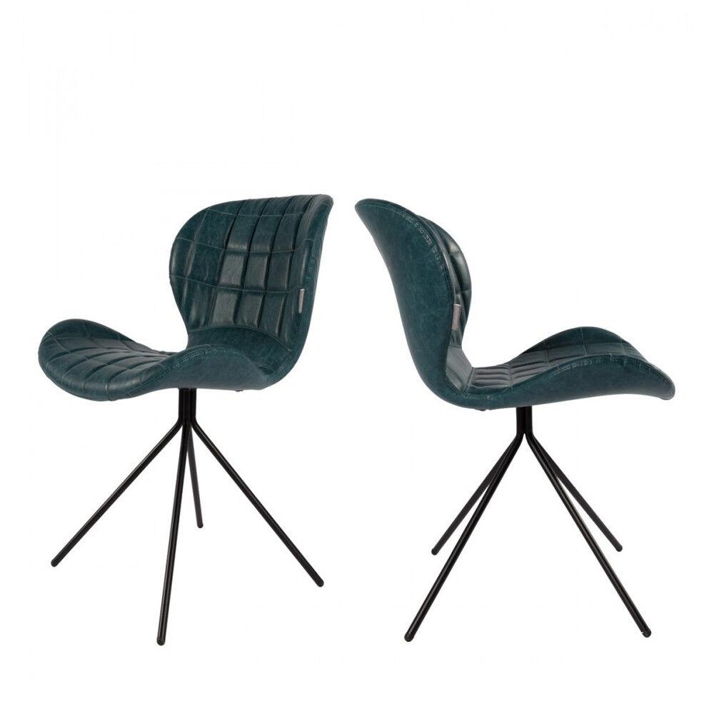 Zuiver 2 chaises design skin bleu pétrole