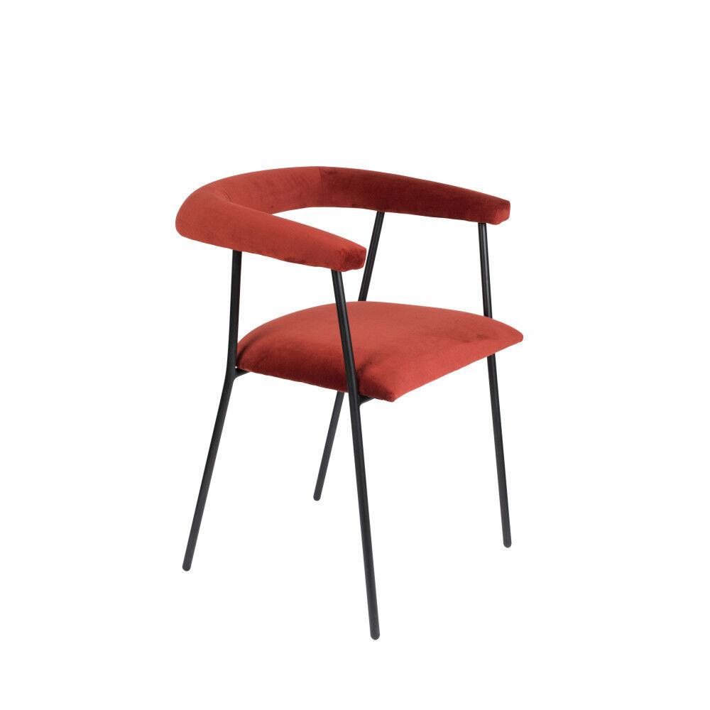 Dutchbone Fauteuil de table en velours rouge