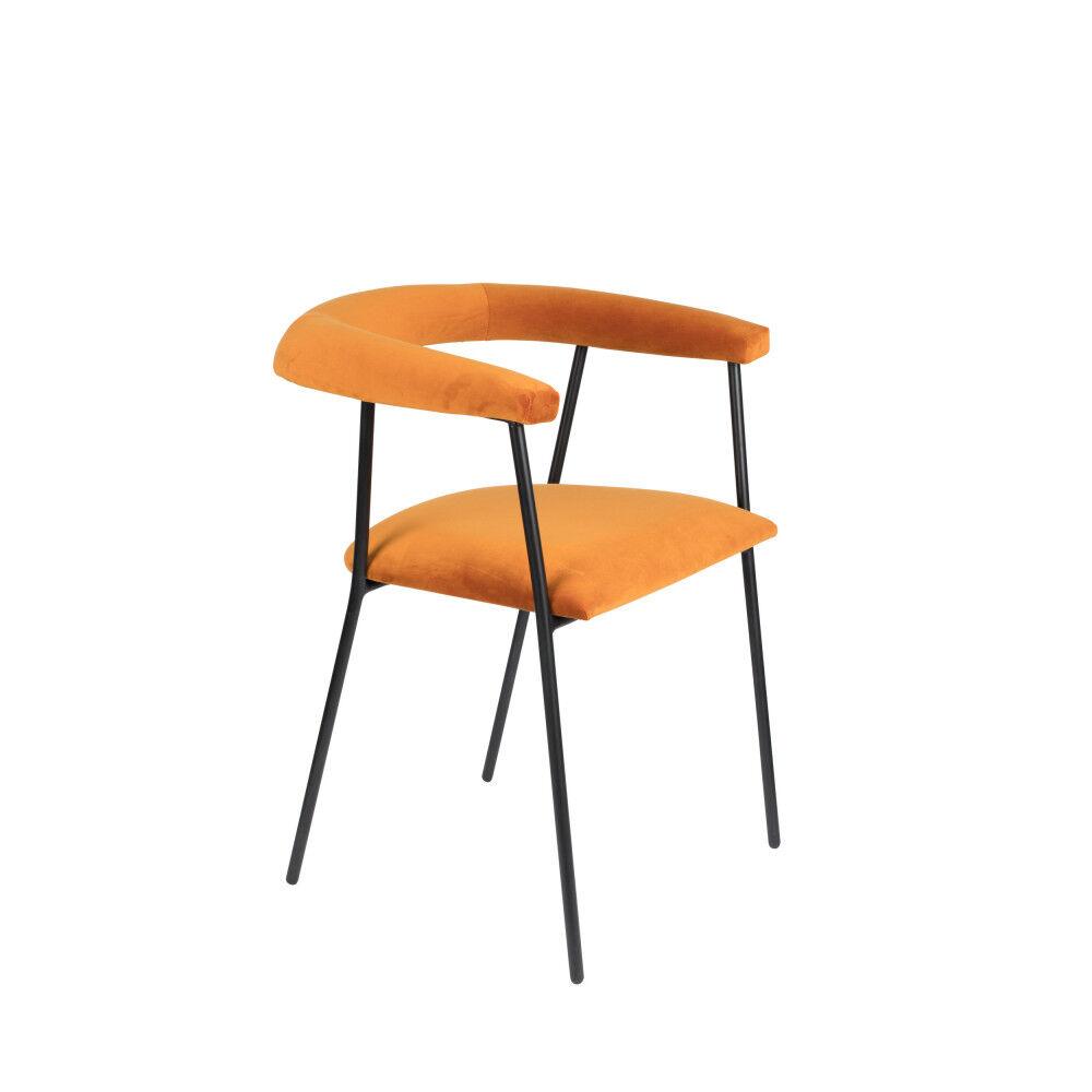 Dutchbone Fauteuil de table en velours orange