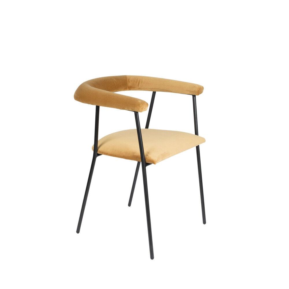 Dutchbone Fauteuil de table en velours or