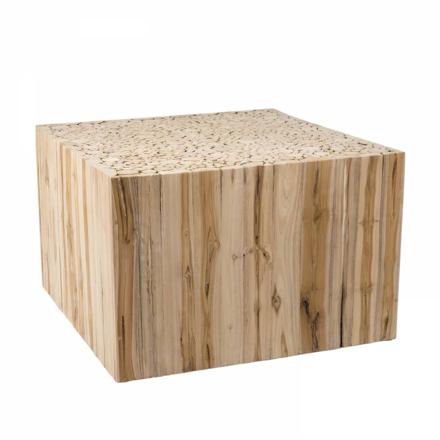 MACABANE Table basse carrée nature branches bois teck