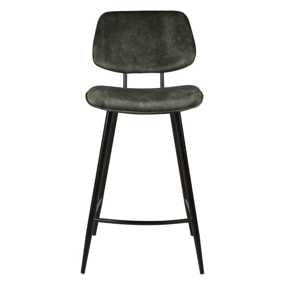 Zago Chaise plan de travail velours vert pieds métal noir h68