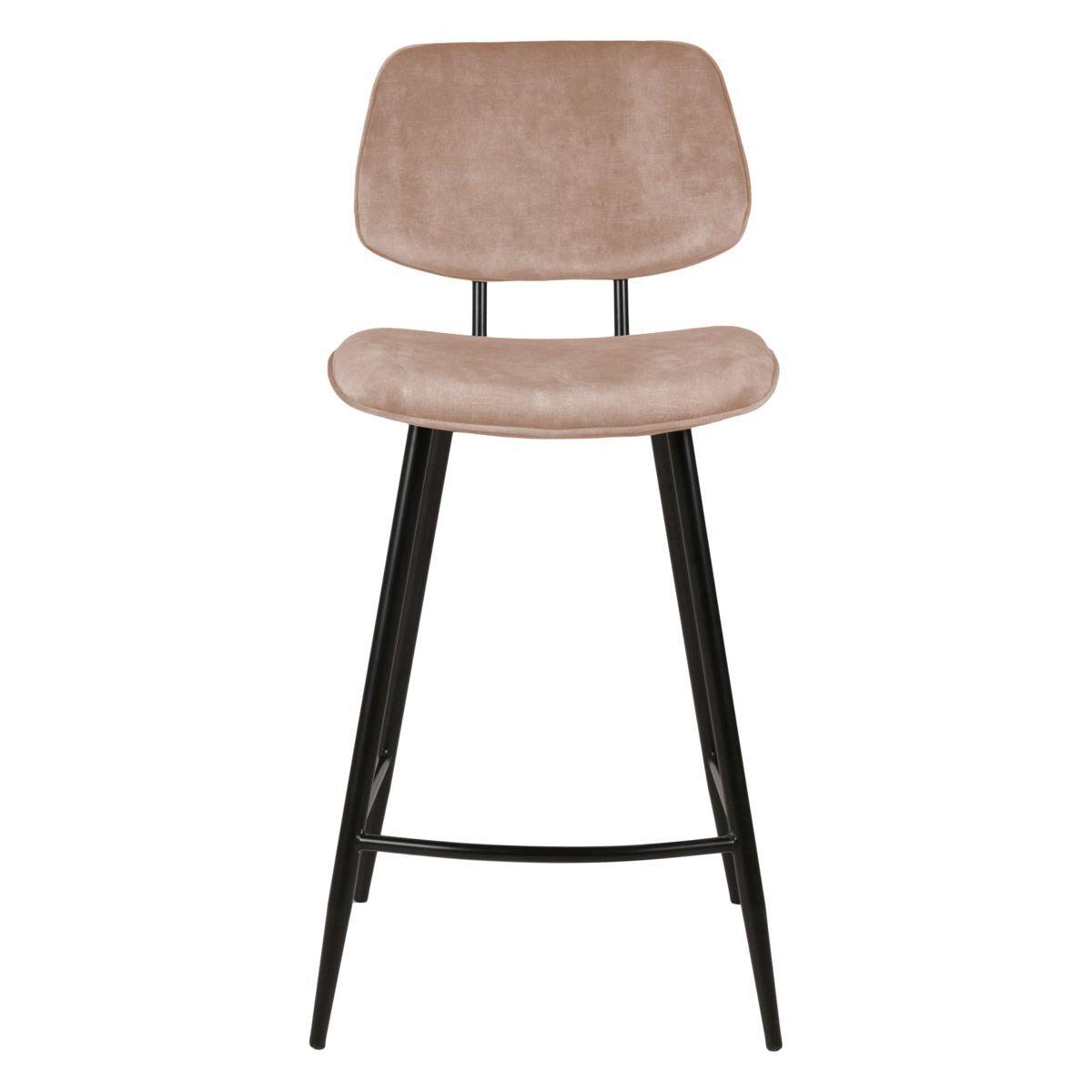 Zago Chaise plan de travail velours beige pieds métal noir h68
