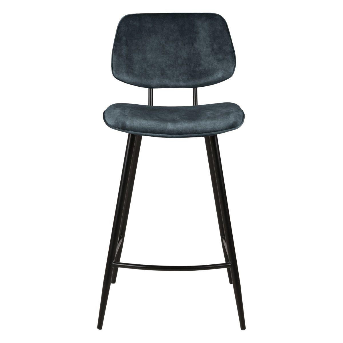 Zago Chaise plan de travail velours gris bleu pieds métal noir h68