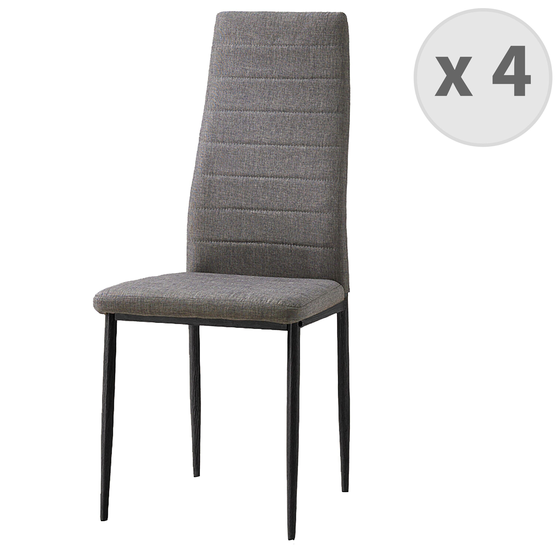 Moloo Chaise de salle à manger tissu gris pieds noir (x4)