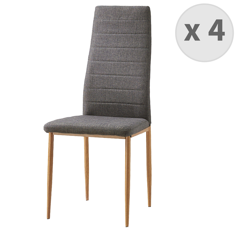 Moloo Chaises de salle à manger tissu gris pieds effet bois (x4)