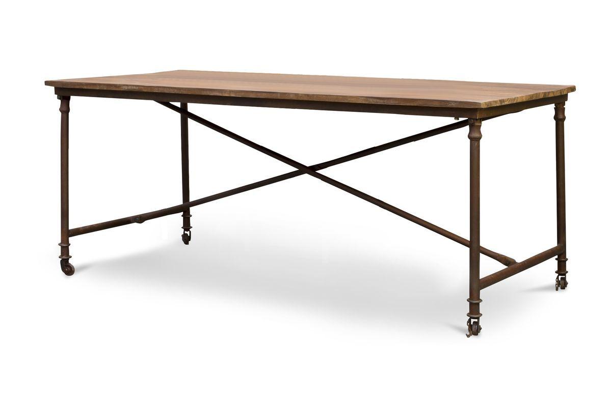 PIB Table  diner industrielle en bois marron