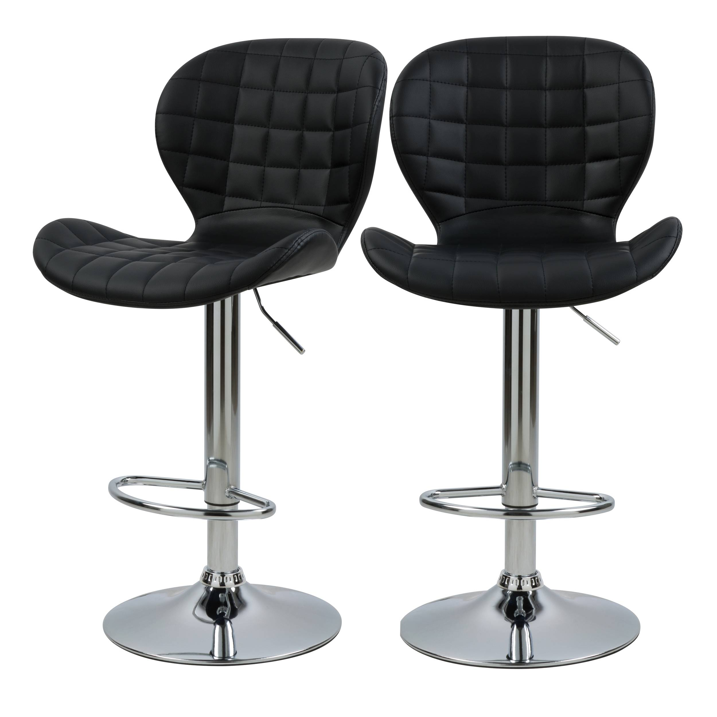 Rendez vous déco Chaise de bar réglable 53/74cm en cuir synthétique noir (x2)