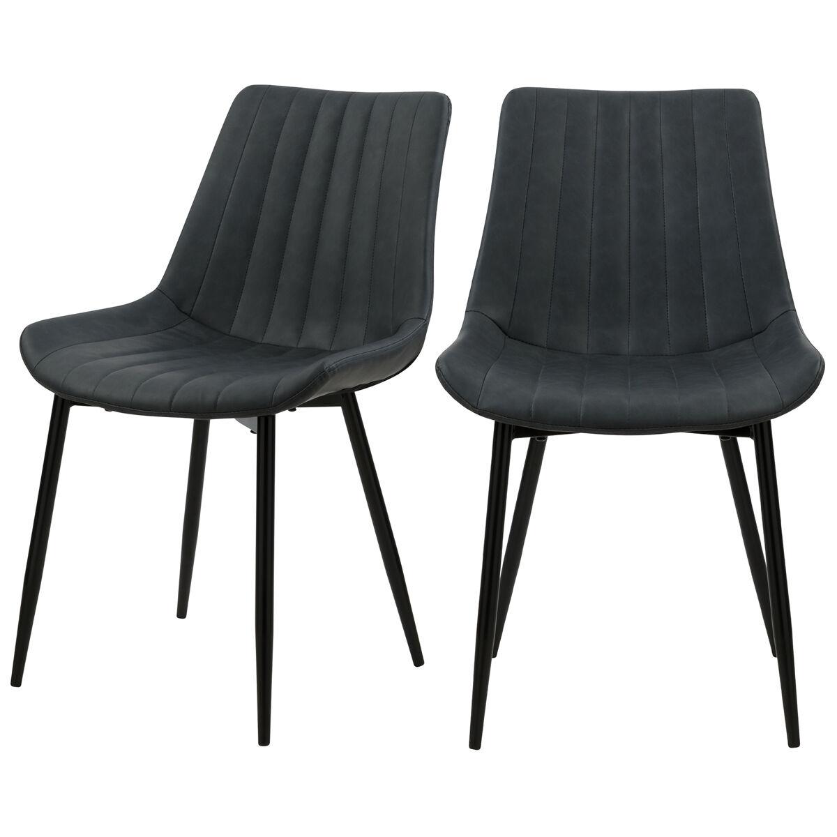 Rendez vous déco Chaise en cuir synthétique gris foncé et métal noir (x2)