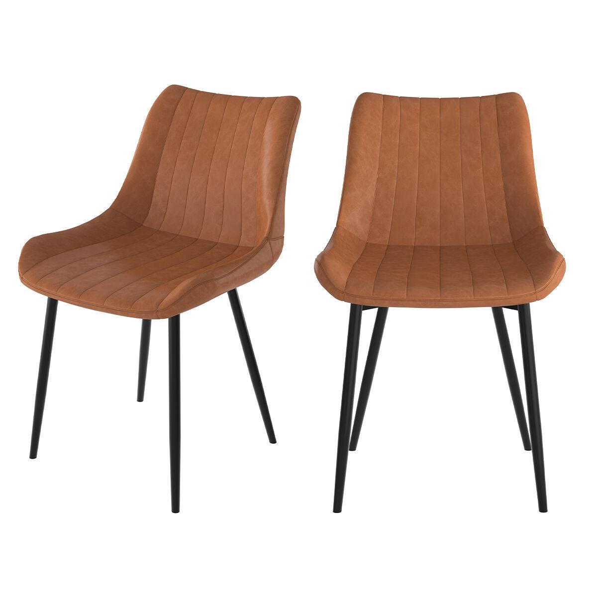 Rendez vous déco Chaise en cuir synthétique camel et métal noir (lot de 2)