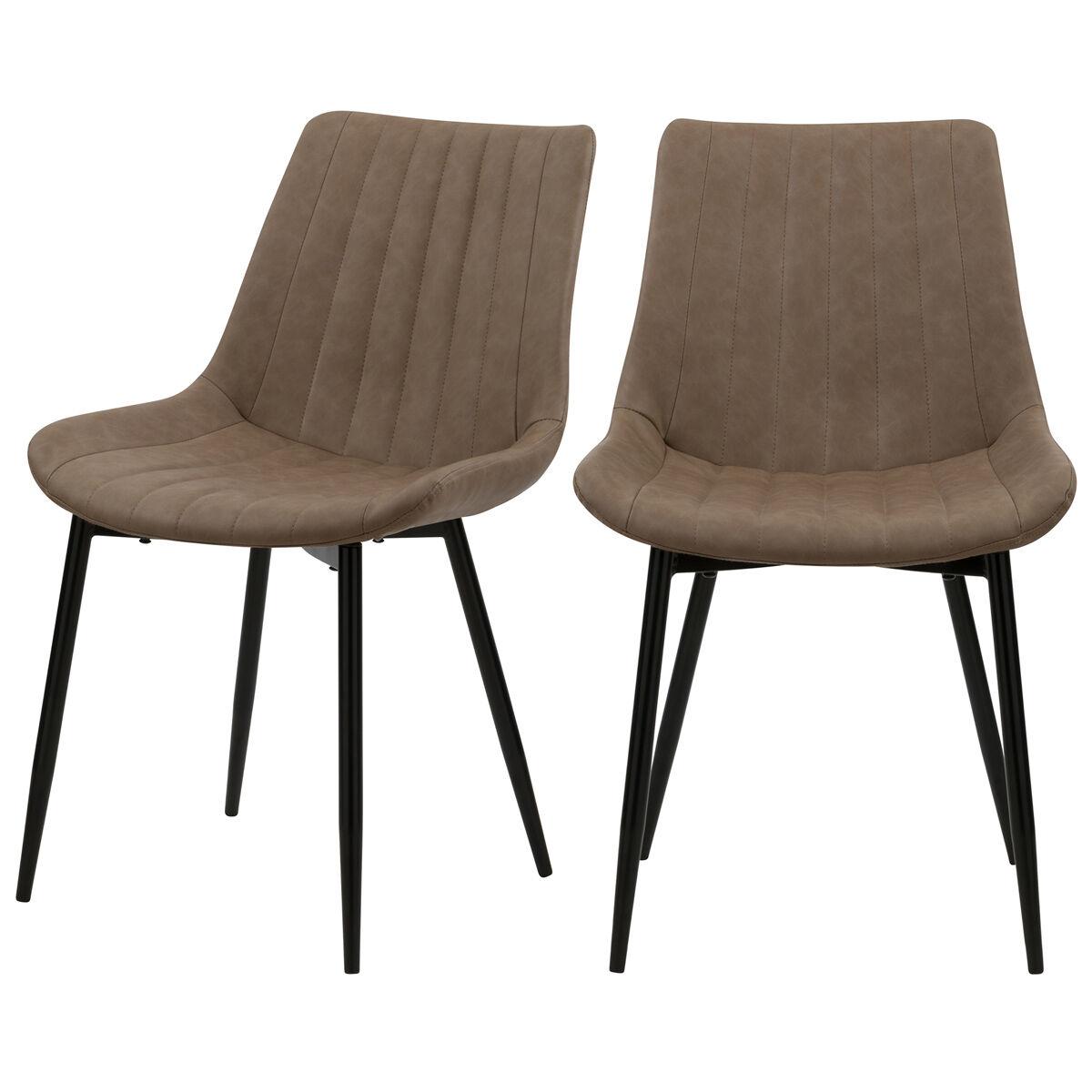 Rendez vous déco Chaise en cuir synthétique taupe et métal noir (lot de 2)