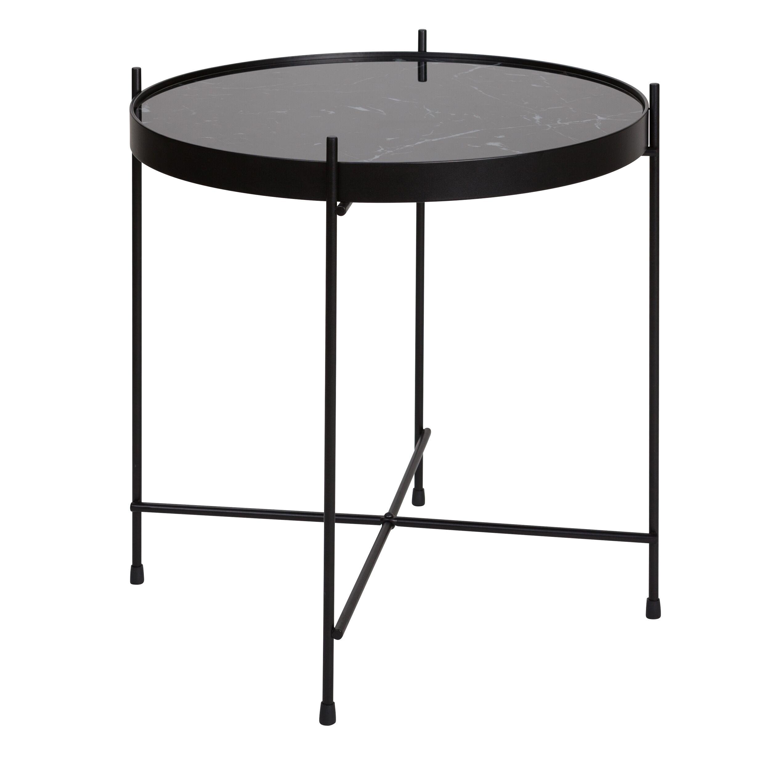 Rendez vous déco Table basse ronde en verre effet marbre noir et métal 43 cm