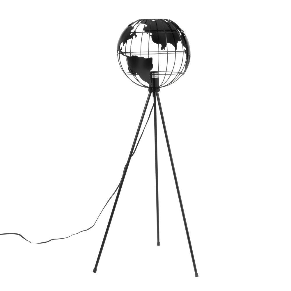 Maisons du Monde Liseuse trépied en métal noir abat-jour mappemonde H105