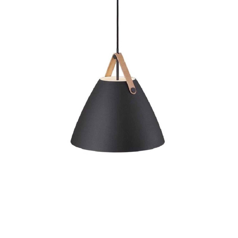 Design For The People Suspension métal noir et cuir D36cm