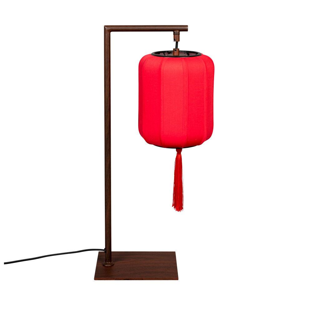 Dutchbone Lampe à poser style lanterne japonaise rouge