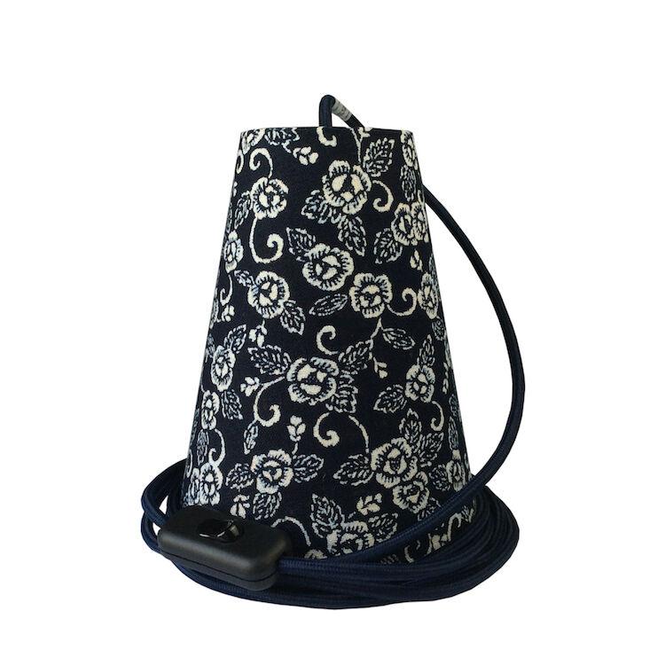 Ambiances & Toiles Suspension baladeuse motif floral indigo/cordon textile marine, H 19cm