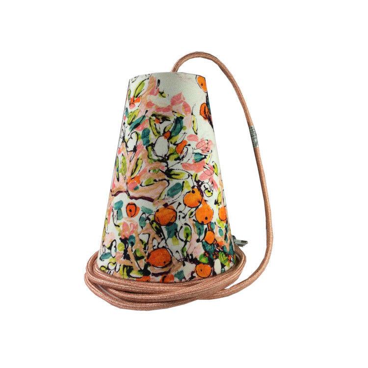 Ambiances & Toiles Suspension baladeuse verger stylisé/cordon textile saumon, H 19 cm