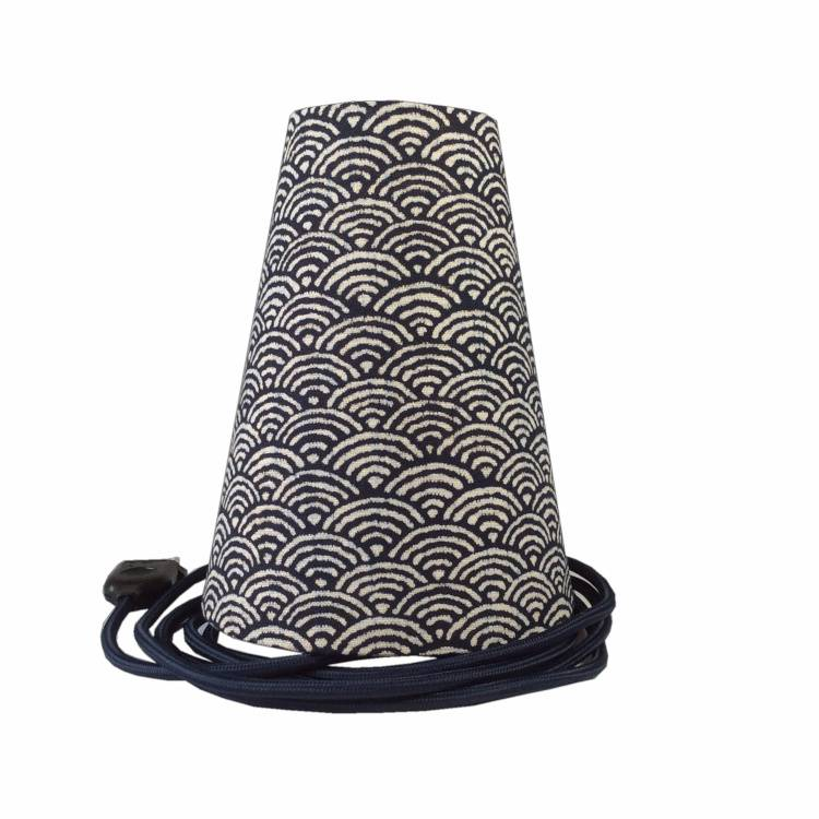 Ambiances & Toiles Suspension baladeuse seigaiha indigo/cordon textile marine, H 19cm