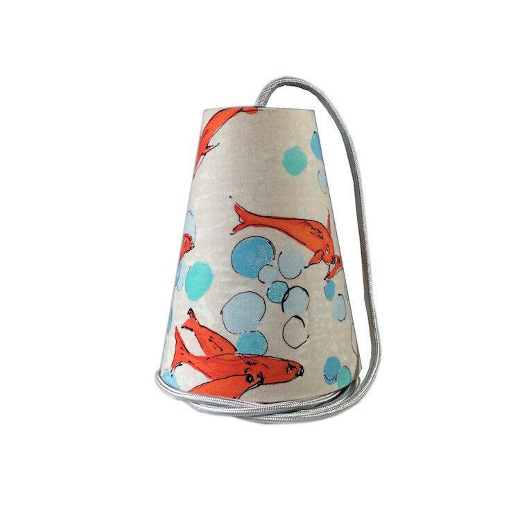 Ambiances & Toiles Suspension baladeuse poissons rouges/cordon textile argent, H 19cm