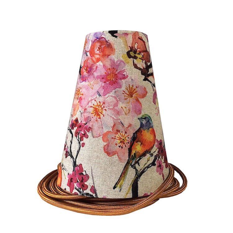 Ambiances & Toiles Suspension baladeuse lin fleurs cerisier/cordon textile cuivre, H 19cm