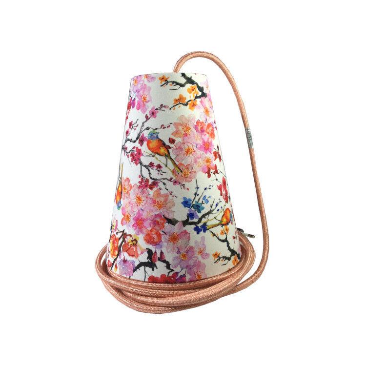 Ambiances & Toiles Suspension baladeuse fleurs de cerisier/cordon textile saumon, H 19cm