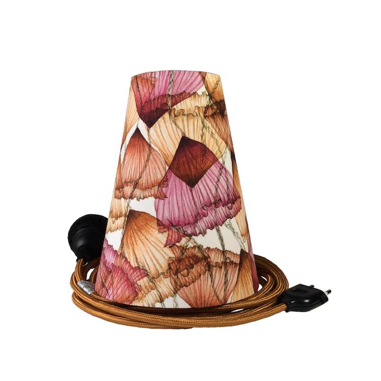 Ambiances & Toiles Suspension baladeuse motif floral aérien/cordon textile cuivre, H 19cm