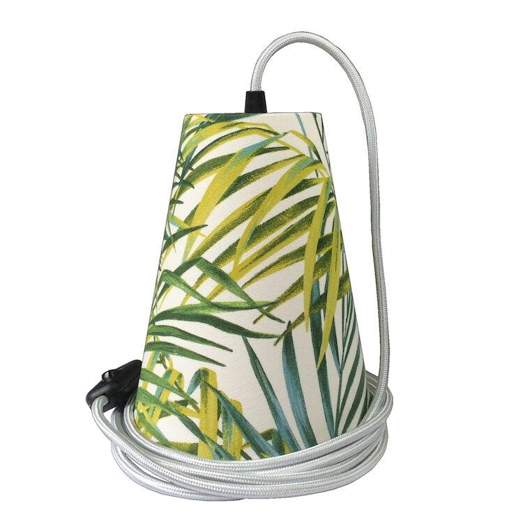 Ambiances & Toiles Suspension baladeuse feuillage palmier/cordon textile argent, H 19cm