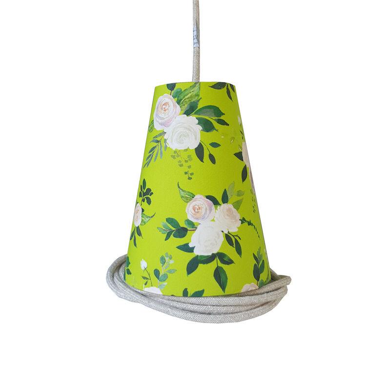 Ambiances & Toiles Suspension baladeuse anis à fleurs/cordon textile argent, H 19cm