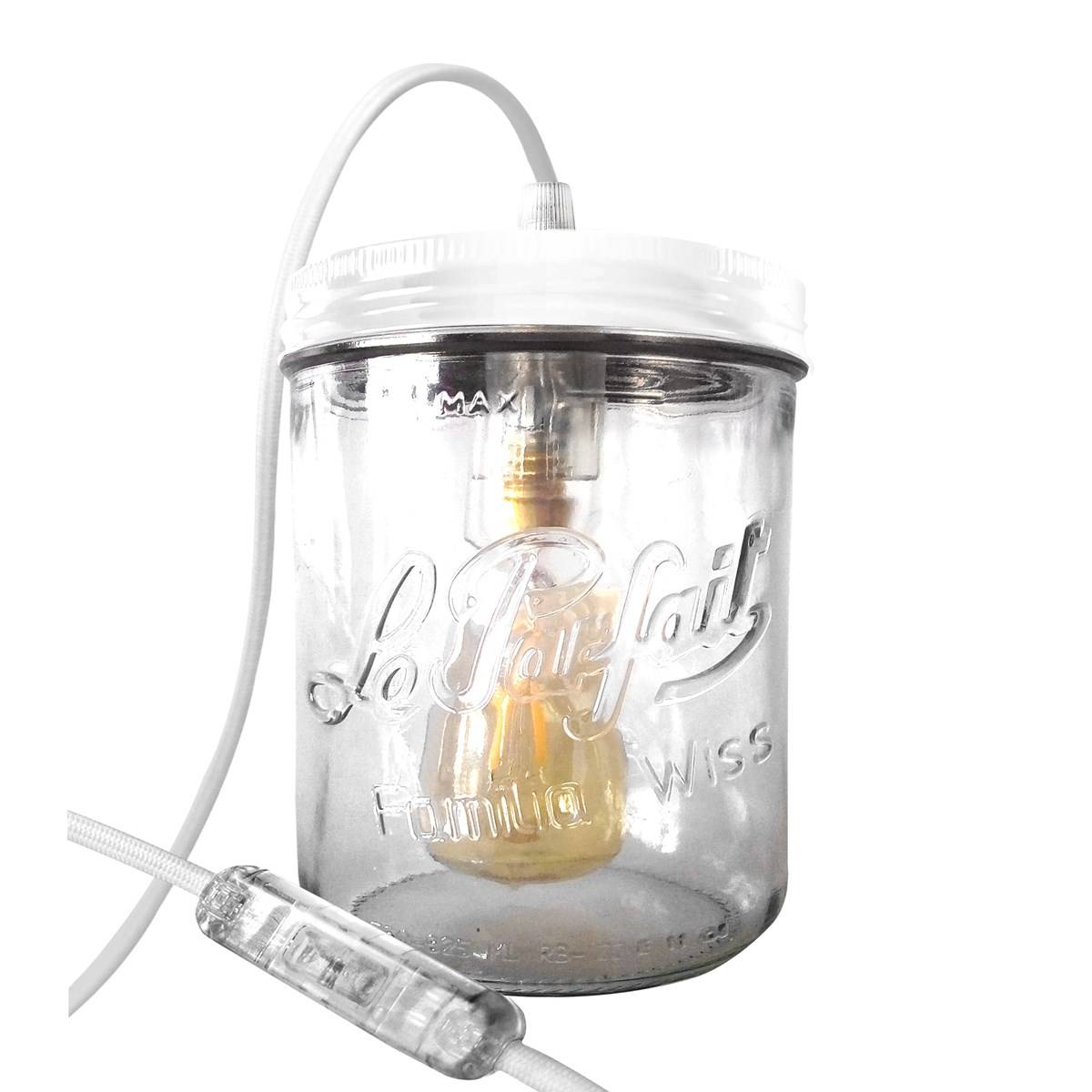 Fenel & Arno Lampe bocal en verre blanc