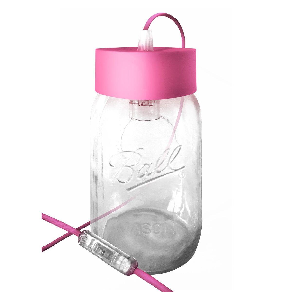 Fenel & Arno Lampe bocal en verre rose fuschia