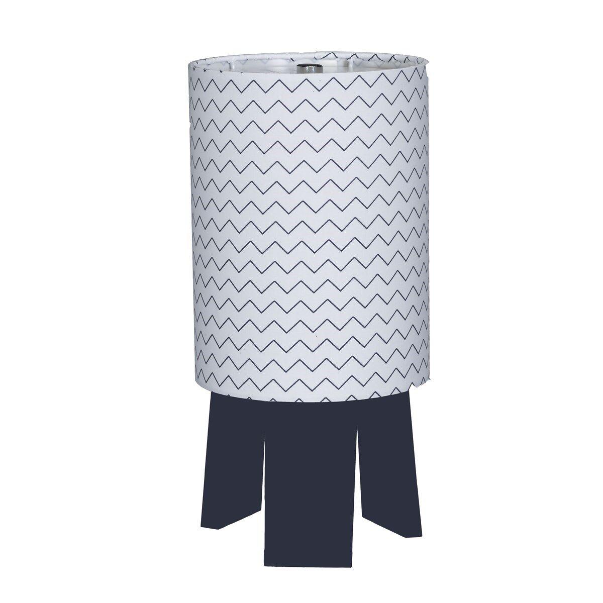 Sauthon Lampe de chevet avec pied en coton blanc