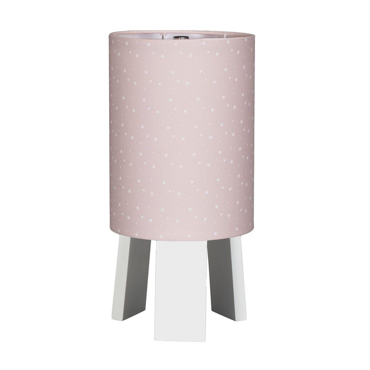 Sauthon Lampe de chevet avec pied en coton rose