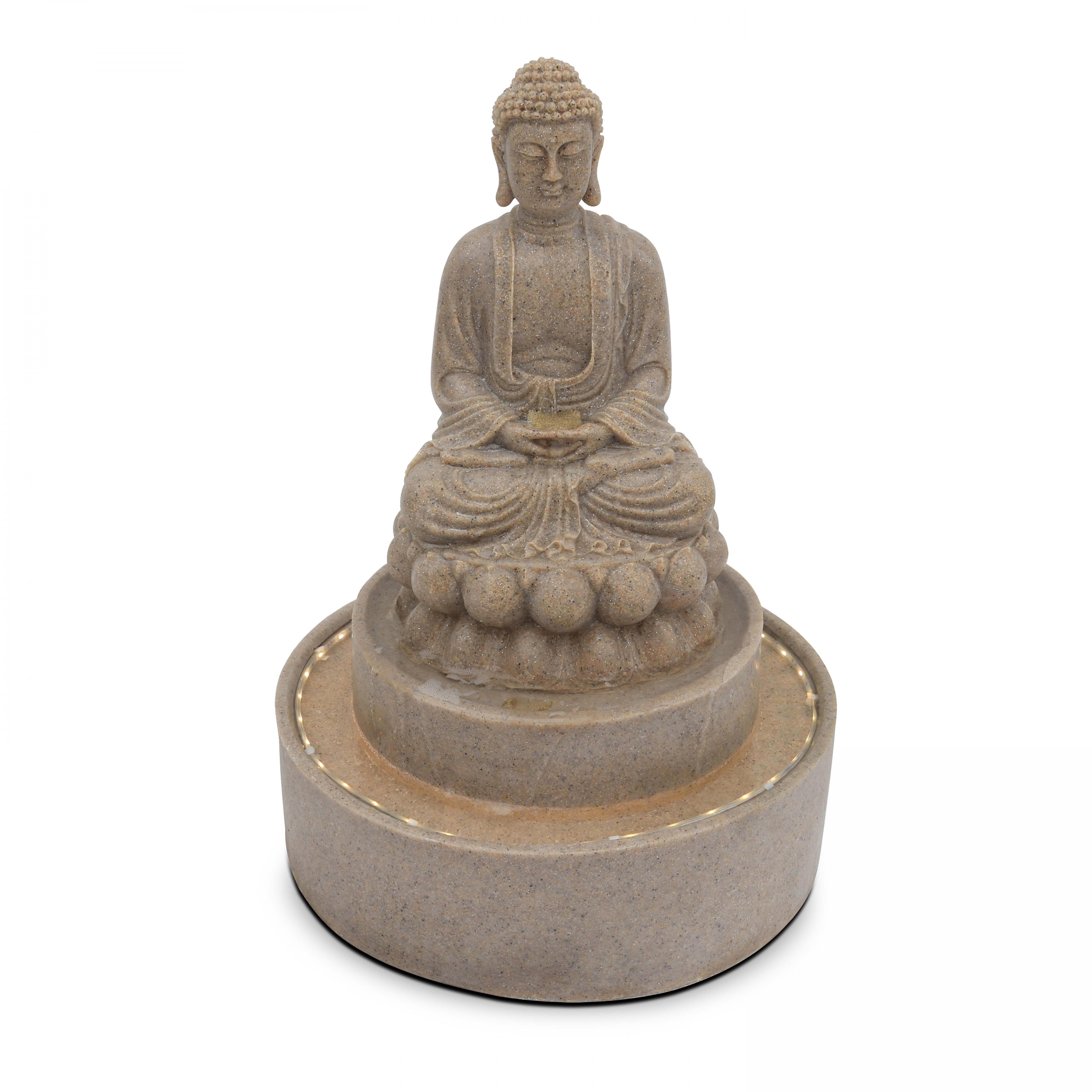 Oviala Fontaine Bouddha pierre reconstituée avec LED gris