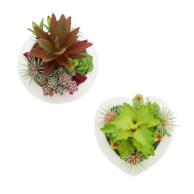 Ligne Déco Lot de 2 compositions de succulentes artificielles pot c?ur/rond 10cm