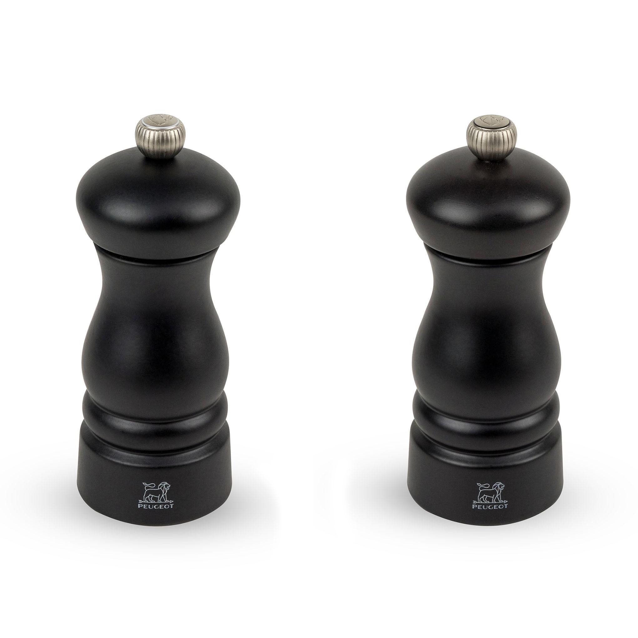 Peugeot Saveurs Duo de moulins  poivre et  sel en bois noir H13cm