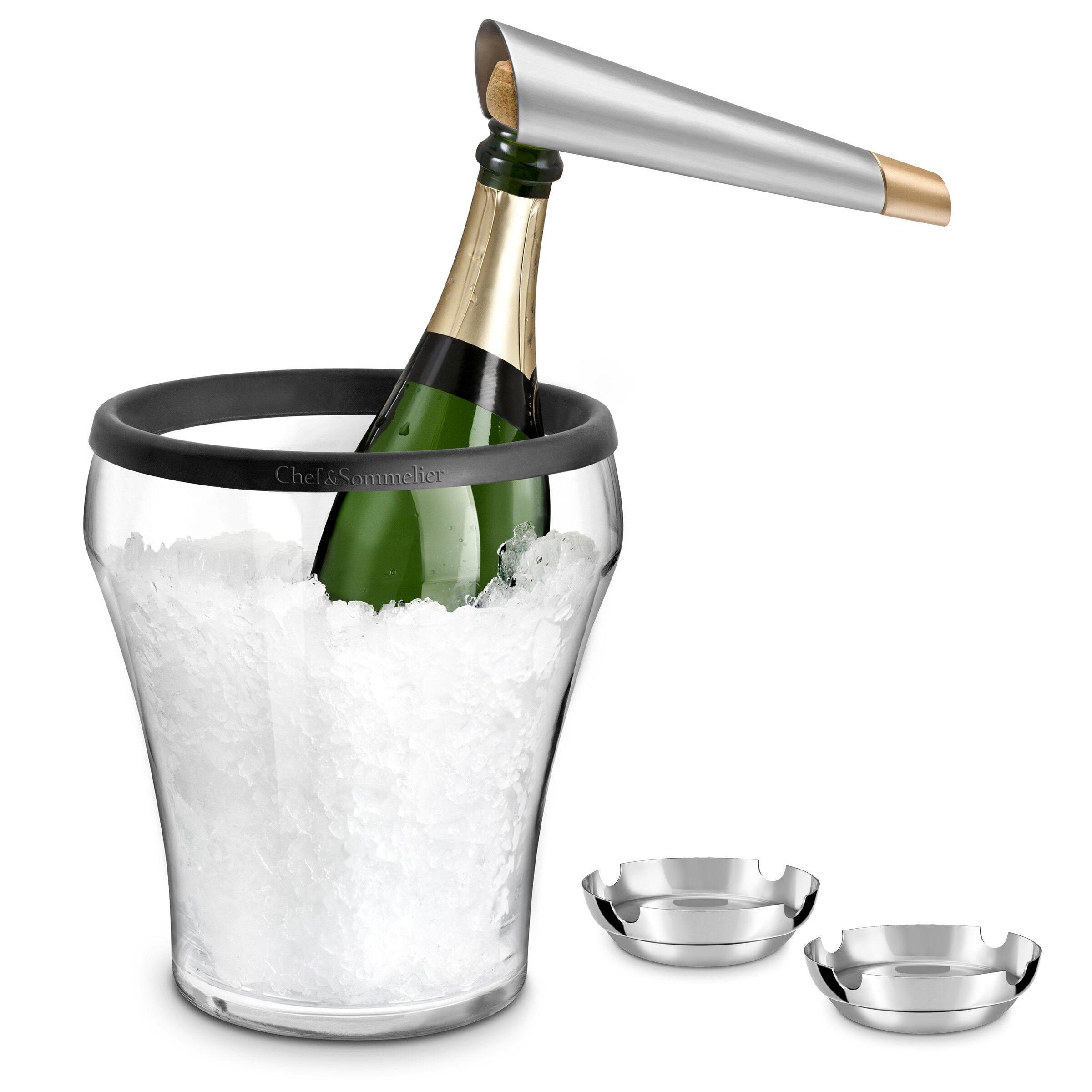 Chef&Sommelier Seau  champagne, coupelles inox et tire-bouchon champagne