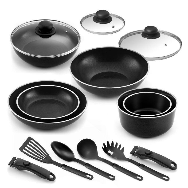 Cuisinox Lot 15 pièces - 2 Poêles, 2 casseroles, 1 sauteuse, 1 wok, 3 couvercl