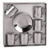 Maisons du Monde Coffret 6 tasses à café avec soucoupes en porcelaine argentées SAUVAGE