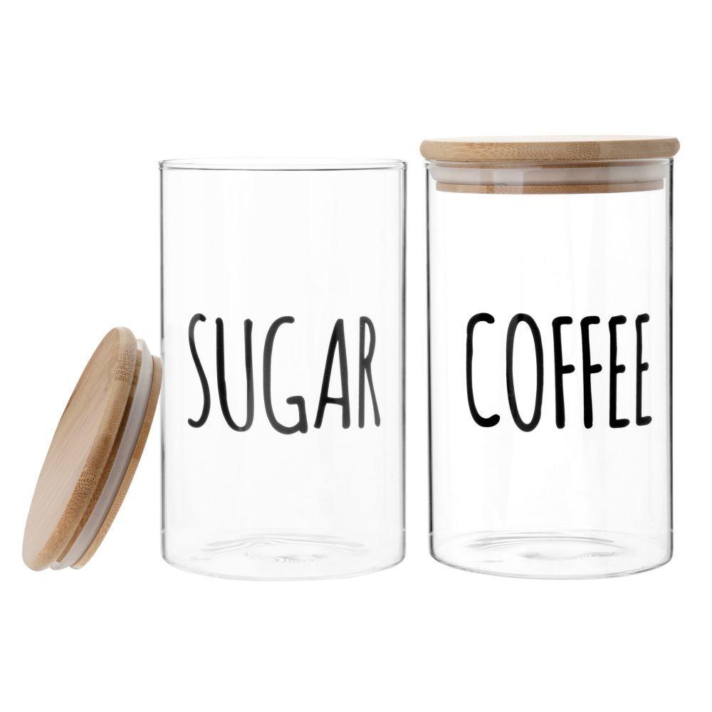 Maisons du Monde Bocaux à sucre et à café en verre imprimé et bambou (x2)