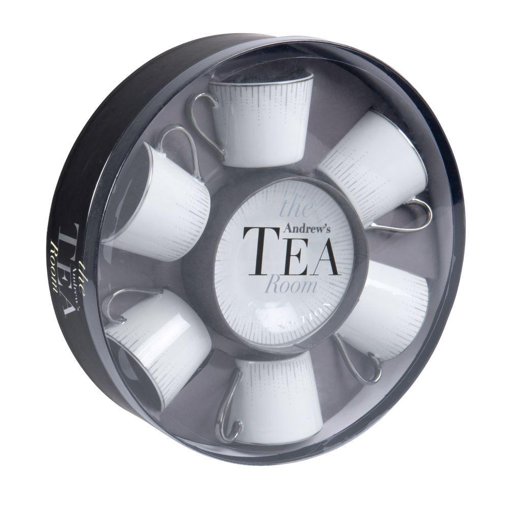 Maisons du Monde Coffret 6 tasses et soucoupe en porcelaine blanche et argentée