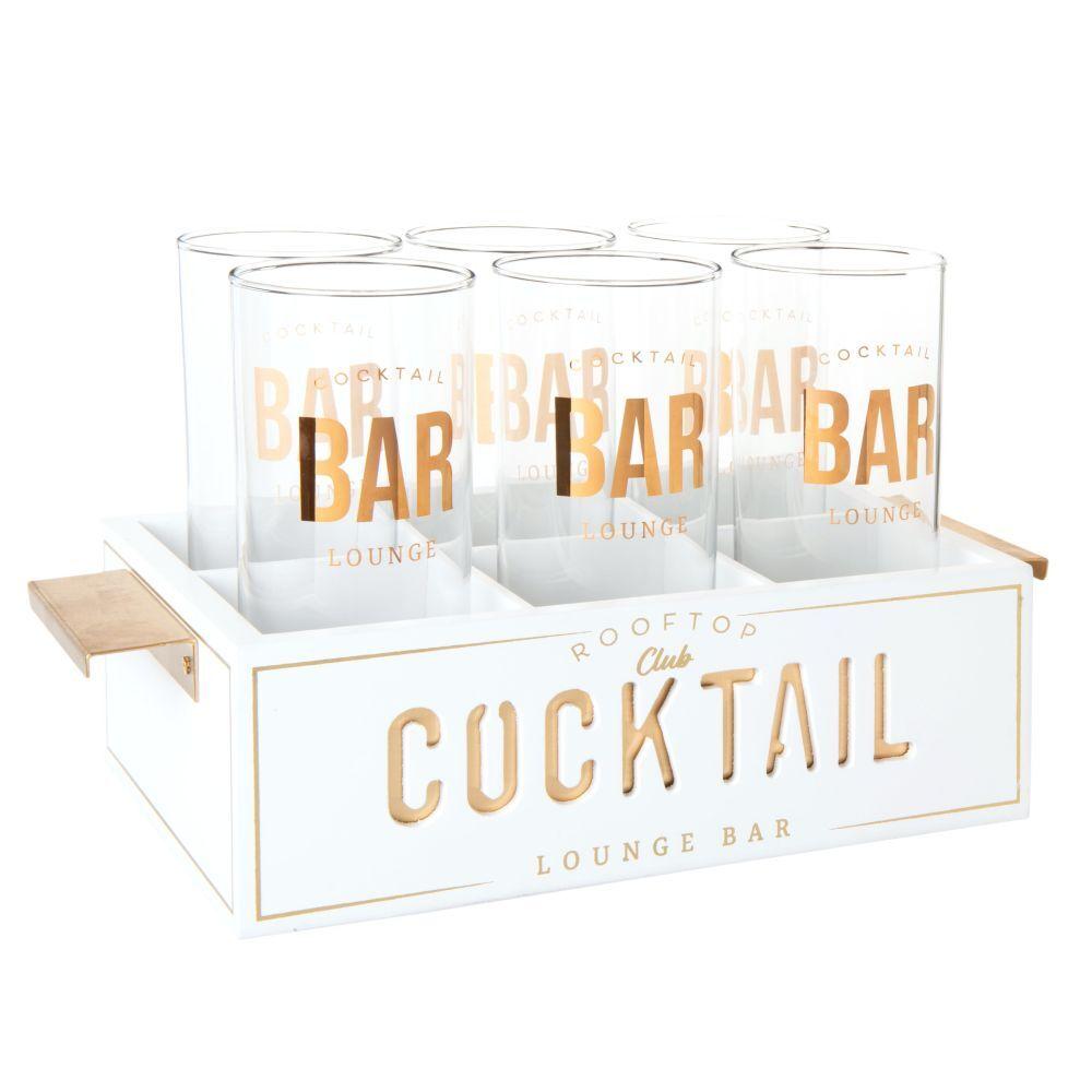 Maisons du Monde Coffret 6 verres à cocktail en verre imprimé et support