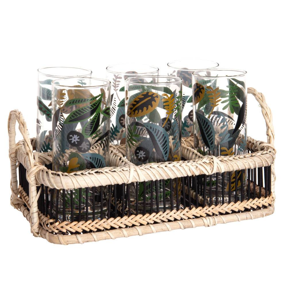 Maisons du Monde Chopes en verres motif végétal multicolore (x6) et support en bambou