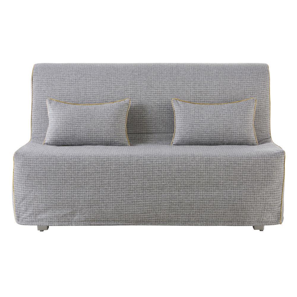 Maisons du Monde Housse de canapé BZ motifs à carreaux gris clair et blancs Elliot