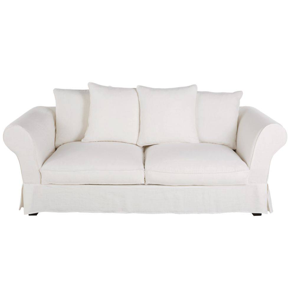 Maisons du Monde Housse de canapé fixe et convertible 3/4 places (6 cm) en lin froissé blanc Roma